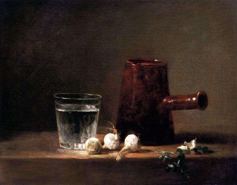 Vaso con agua y jarra   Jean Baptiste Simeon Chardin