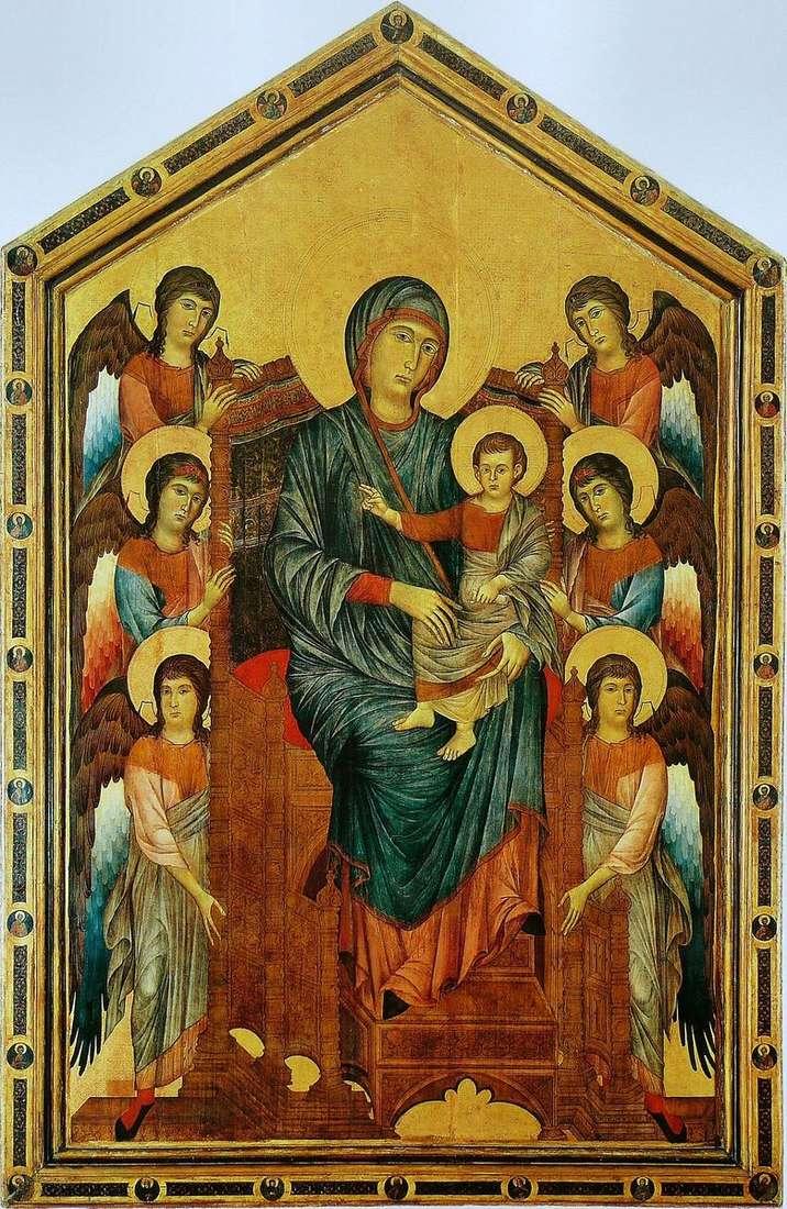 Virgen y el niño en un trono rodeado de ángeles   Chenny Di Pepo