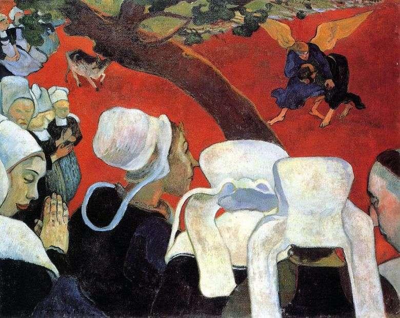 Visión después del sermón (Jacob luchando con el ángel)   Paul Gauguin