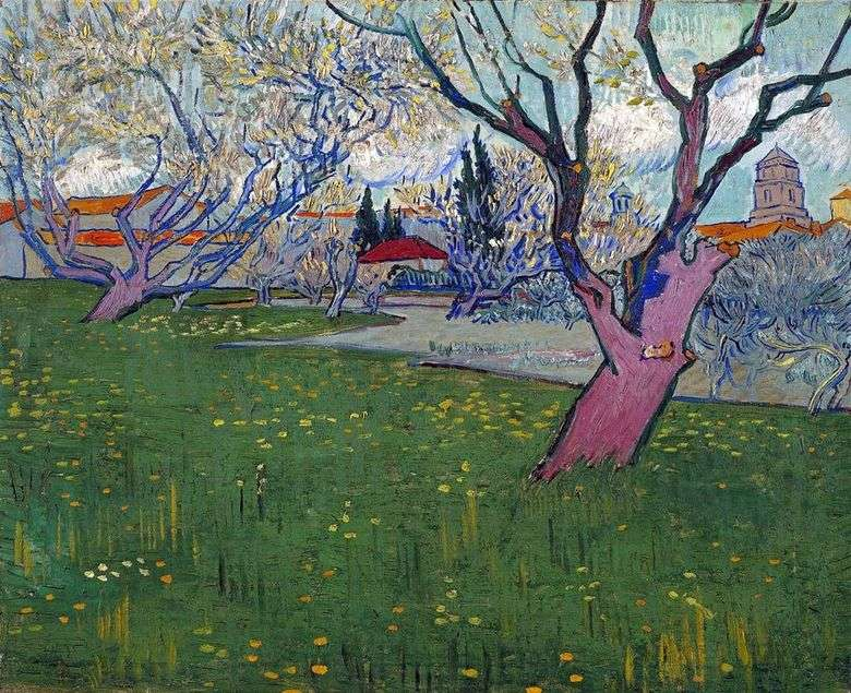 Vista de Arles entre árboles en flor   Vincent Van Gogh