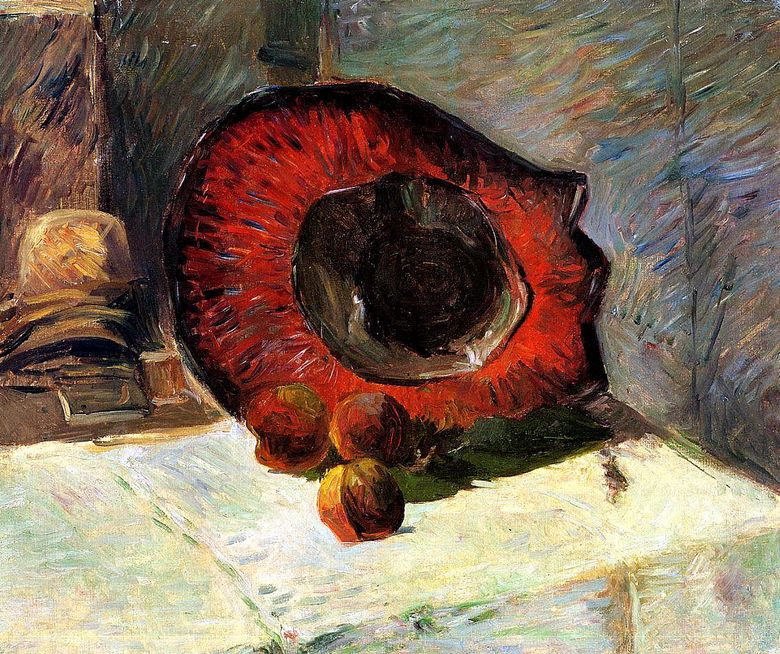 Chapeau rouge et fruits   Paul Gauguin